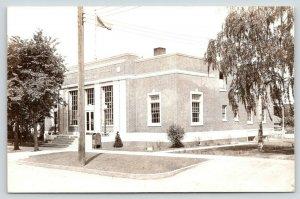 Sheldon Iowa~US Post Office~Mail Box~Nice Trees~Side View to Back~1940s RPPC