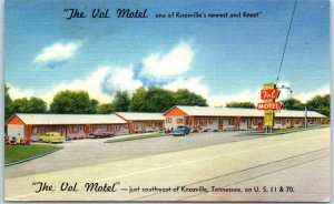 Knoxville, Tennessee Postcard THE VOL MOTEL Highway 11 & 70 Roadside Linen 1952