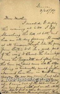 Letter to mother written 3/25/1897 Geneve Swizerland Postal Used Unknown