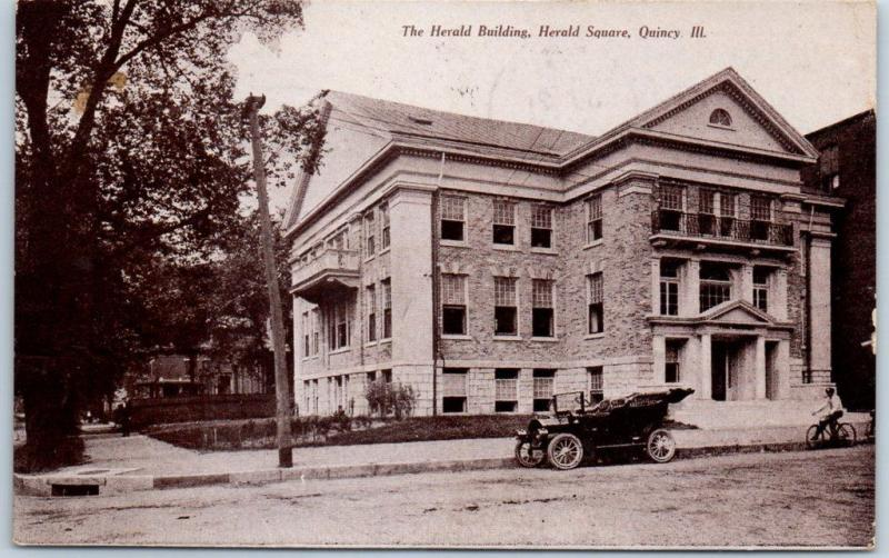 Quincy, Illinois Postcard The Herald Building, Herald Square 1908 Cancel