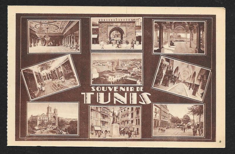 Multi View Souvenir Tunis Tunisia unused c1920's