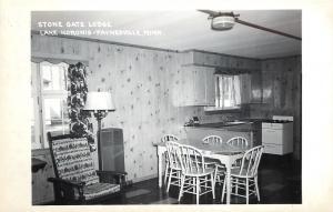 Paynesville Minnesota~Lake Koronis~Stone Gate Lodge~Kitchen & Dining~1950s RPPC