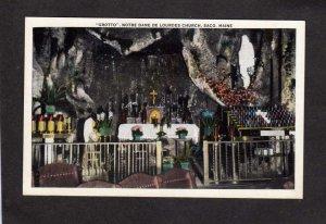 ME Notre Dame de Lourdes Church Grotto Saco Maine Postcard Saint Bernadette