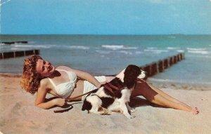Balboa, CA Blonde Pin-Up Girl, Dog Bikini Beach Scene c1950s Vintage Postcard