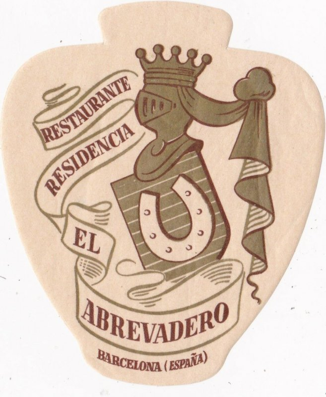 Spain Barcelona Restaurante Residencia El Abrevadero Vintage Luggage Label s2424