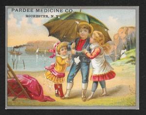VICTORIAN TRADE CARD Pardee Medicine Kids at Beach Umbrella
