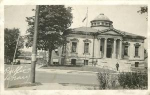 Public Library w/Dome, Four Ionic Pillars~Big Shade Tree RPPC c1950