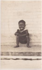 African Baby Boy Child Screaming Crying Antique Real Photo Postcard