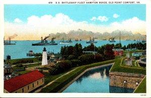 Virginia Old Point Comfort Hampton Roads U S Battleship Fleet Curteich