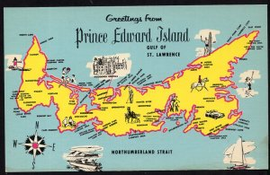 PEI MAP Greetings from Prince Edward Island - camping and picnic areas - Chrome