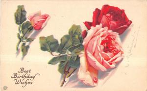 Pink & Red Roses With Birthday Wishes Signed Klein Antique Postcard V9782