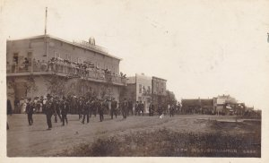 RP: STONGHTON , Saskatchean , Canada , 1911 ; Parade on main Street