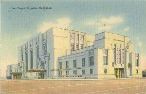 Omaha, Nebraska Union Depot Linen Postcard