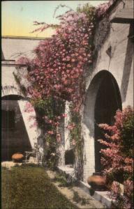 Socorro NM The Val Verde Patio Hand Colored Postcard
