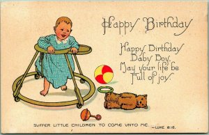 Vintage 1910s BIRTHDAY Greetings Postcard Happy Birthday Baby Boy… Bible Verse
