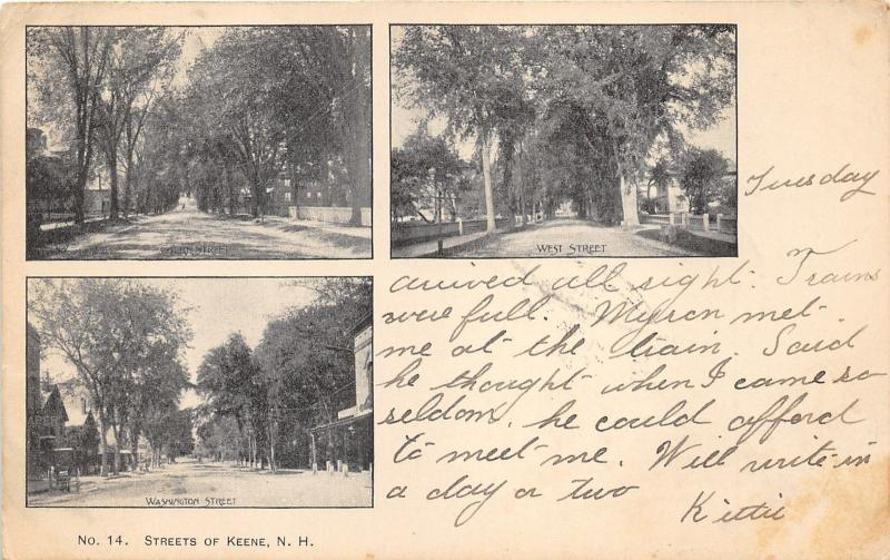Keene New Hampshire~Washington Street-West Street-Court Street~1906 Postcard