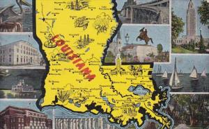 Louisiana Multi View With Map 1953
