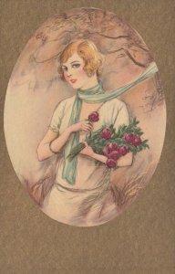 ART DECO ; Female wearing white blouse & skirt, blue scarf, 1910-20s