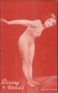 Nude Sexy Showgirl Pin-Up Exhibit Mutoscope Card RED TINT SERIES DIVING VENUS