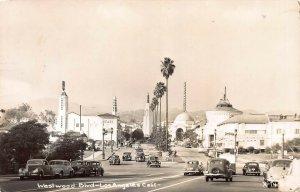 Westwood Boulevard, Los Angeles, CA, Real Photo Postcard, Used in 1948