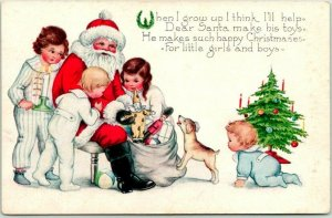 1920s Whitney CHRISTMAS Postcard SANTA CLAUS w/ Children & Toys (Read the Back!)