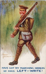 Marching Soldier Military Left - Write Fred Spurgin Terrier Series Postcard E65