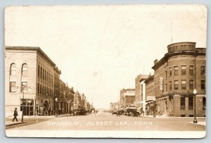 Albert Lea MN~Hotel & Cafe on Corner~Barber Pole~Canov~Rooms~Brett~RPPC 1920s