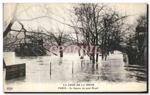 Old Postcard Paris Crue Of the Seine Square The Royal bridge