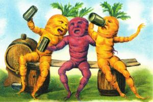 Beets and Carrots Drinking Beer and Singing Surreal Humor Postcard