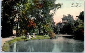 Madison, Wisconsin Postcard View in Tenney Park Ladies at Lake 1911 Cancel