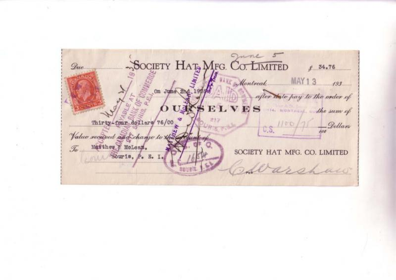 Custom Cheque from Society Hat Mfg Montreal, Quebec, Canada Three Cent Stamp ...