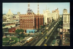 San Diego, California/CA Postcard, Looking Up Broadway, 1950's Cars & Busses
