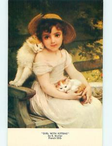 Pre-1980 GIRL WITH CATS PAINTING AT HAUSSNER'S RESTAURANT Baltimore MD s1209@