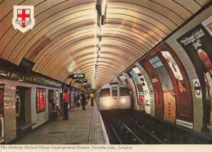 Oxford Circus Underground Tube Station 1970s Postcard