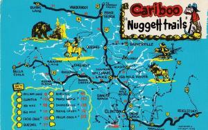Cariboo Map Nuggett Trails Canada Postcard