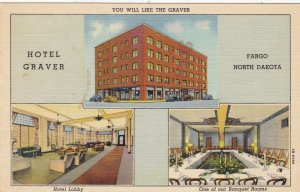 North Dakota Fargo Hotel Graver Showing Lobby & Banquet Room Curteich sk4576