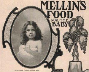1907 Original Print Ad Mellin's Baby Food Woodrow Wilson 2P1-6 e et