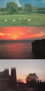 Yorkshire Weather incl Rainbow Sunrise York Sunset 3x Postcard s