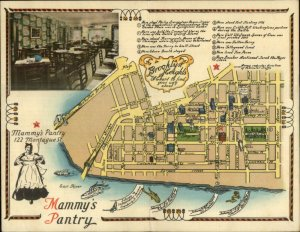 Brooklyn Heights NY Mammy's Pantry Montague St. Fold-Open Map Adv Postcard