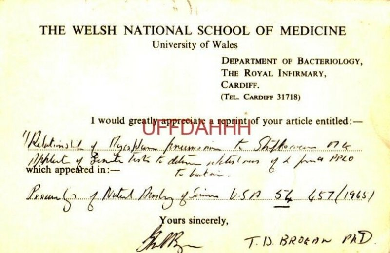 From: WELSH NATIONAL SCHOOL OF MEDICINE To:DR McGEE, WALTER REED RESEARCH 1965