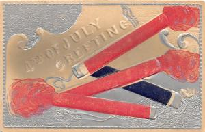 E16/ Patriotic Postcard Fourth of July 4th c1910 Fireworks Silver Lined 7