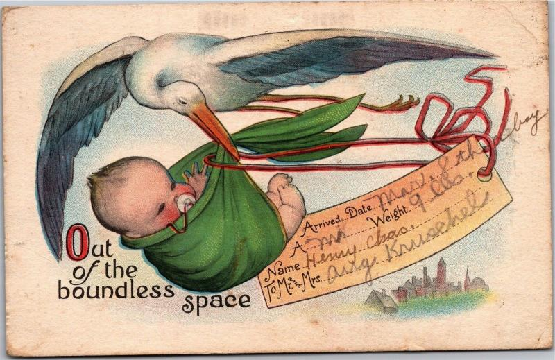 Stork Delivering Baby Birth Announcement c1921 Vintage Postcard J03