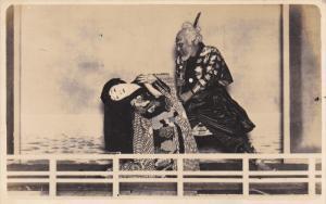 RP: KABUKI ACTOR # 15 ,  Japan , 1910-30 ; Man with sword & girl