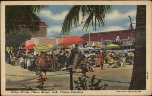 Nassau Bahamas Prince George Dock Native Market Linen Postcard
