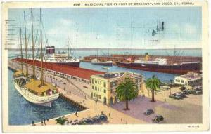 Municipal Pier at Foot of Broadway, San Diego, California, CA, 1936 Linen