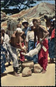 africa, Native People Sacrifice Ritual Goat or Lamb (1960s)