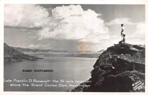 GRAND COULEE DAM, WASHINGTON LAKE F.D. ROOSEVELT RPPC REAL PHOTO POSTCARD