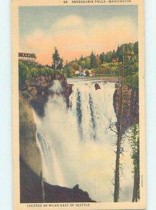 Pre-Chrome WATERFALL SCENE Snoqualmie Falls - Near Seattle Washington WA AG4128