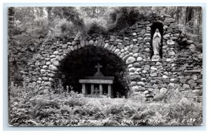 Postcard Lourdes Grotto St Anthony's Monastery, Marathon City, WI 1944 RPPC H16