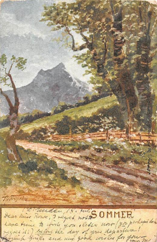Sommer Summer Mountain Pathway Landscape Signed 1902